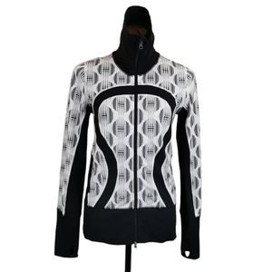 Lululemon She Bop Jacket Black White Geo Size 6